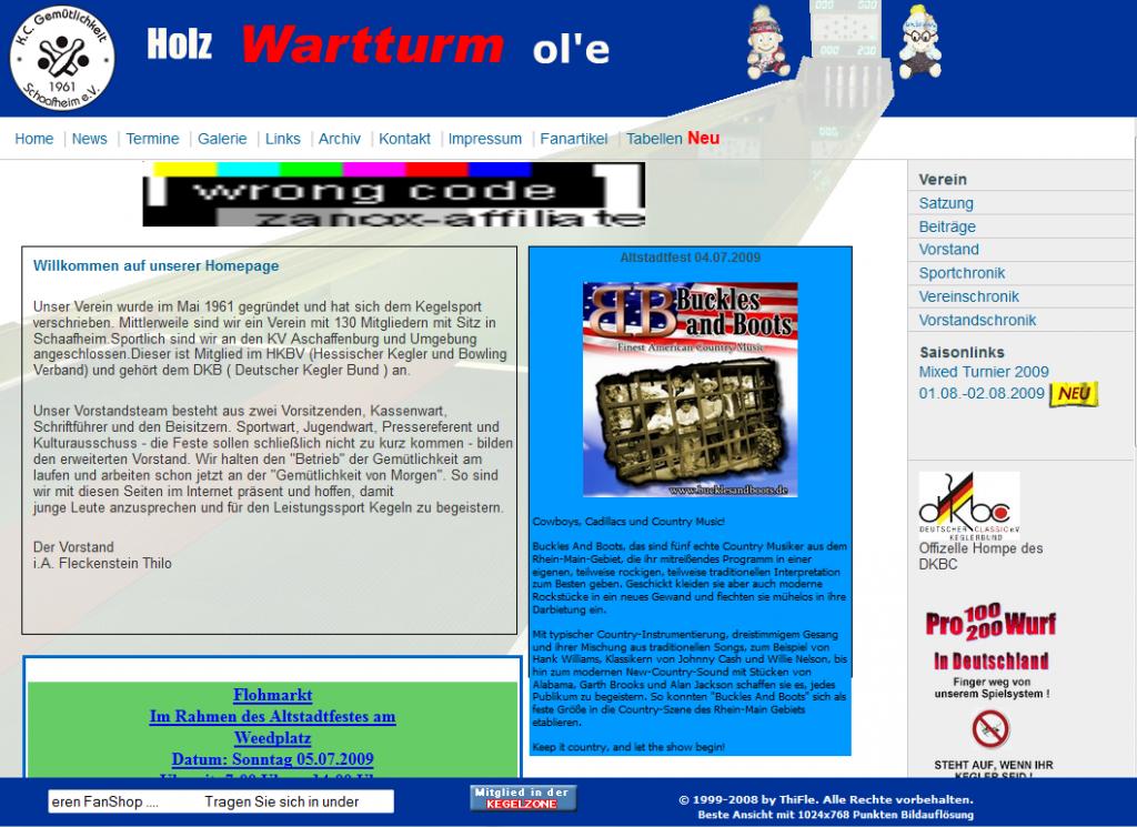 Kegelclub Schaafheim Webseite bis 2009